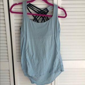 Lululemon blue flowy Yoga top w/ built in bra